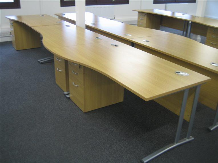 Oak Wave Desk Installation - Tonbridge - CK Office Furniture
