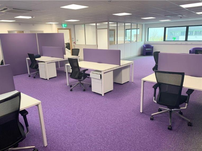 White Bench Desks With Screens & Mesh Chairs - Rochester, Kent