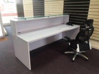 White High Gloss Reception Desk - Peterborough Installation - CK Office Furniture