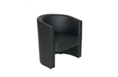 CK Black Leather Tub Chairs
