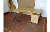Second Hand 1800 Radial Desks In Light Oak With Desk High or Mobile Pedestal CKU1294