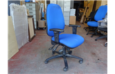 Used High Back Operator Chair in Blue with Adjustable Arm CKU1840