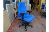 Used Blue High Back Operator chair with Adjustable Arms CKU1841