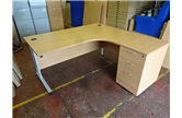 Used 1600 Beech Radial Desk with Silver Mobile Pedestal CKU1885 CKU1877