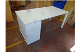 Used White 1600 Desk with Pedestal CKU1883