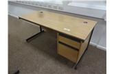 Second Hand 1535mm Straight Desk in Light Oak Cantilever Leg CKU1894