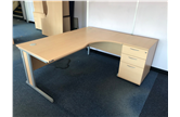 Used 1800 Radial Desk In Beech With Desk High Drawers CKU2900