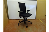 Used Black Operator Chair White Back With Adjustable Arms  - CKU1013