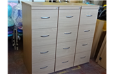 Nearly New 4 Drawer Filing Cabinet In Beech With Silver Handles  CKU1343
