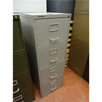 Used Vintage Retro Roneo Vickers 4 Drawer Filing Cabinet Light Grey CKU1389  x1