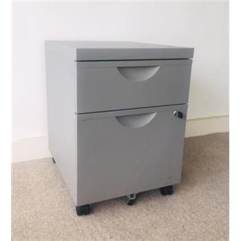 Used Silver 2 Drawer Mobile Pedestal
