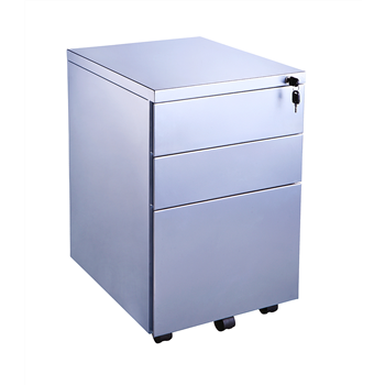 CK 3-Drawer Mobile Under-Desk Pedestal - Silver Metal