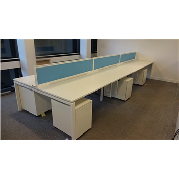 Wondrous Quality Used 1600 White Bench Desk With 3 Drawer Mobile Pedestal Cjindustries Chair Design For Home Cjindustriesco
