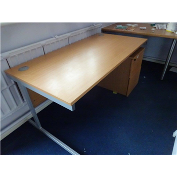 Used 1600 Beech Straight Desk with Mobile Pedestal CKU1869