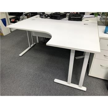 1600mm Radial Desk With Desk High Pedestal In White
