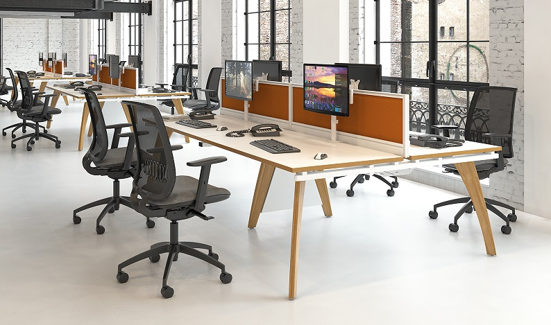Bench Desk With Wooden Frame And Mesh Chairs In Office Building