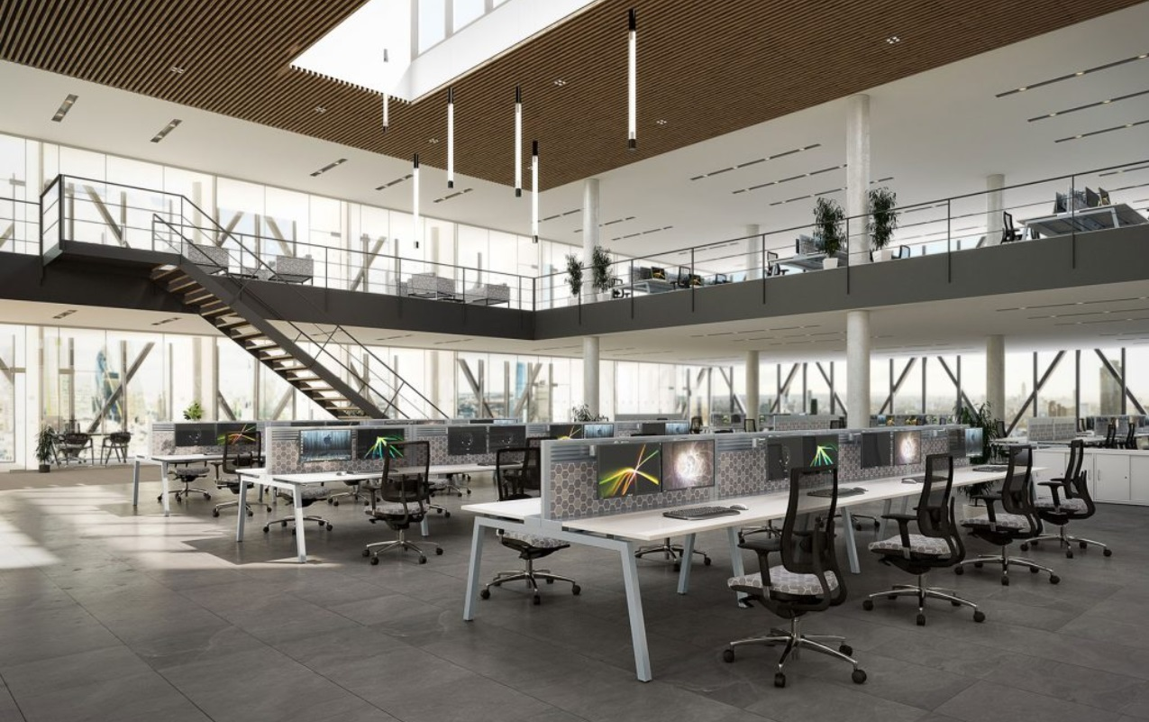 White Bench Desks With Desktop Screens And Mesh Operator Chairs