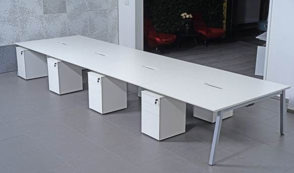 Set Of Modular Bench Desks White